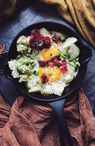 Cast Iron Skillet Egg and Mashed Potatoes with Guac and Cranberry Sauce