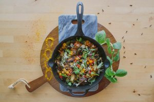 Cast Iron Crispy Brussels Sprouts with Sweet and Sour Sauce