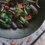 Cast Iron Drunken Mussels in Wok