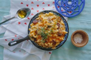 Cast Iron Mac and Cheese with Platano Maduros
