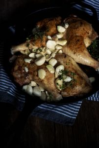 Easy Garlic Chicken Thighs with White Wine by @SaltandSuch