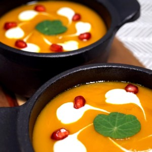 Calabaza Soup with Sour Cream and Pomegranate Seeds by @iambananista