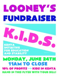 Looney's Fundraiser for Kenya Initiative for eDucation and Stability using Adobe Photoshop