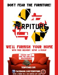 Flyer for Terpiture, a furniture rental start-up company using Adobe Photoshop