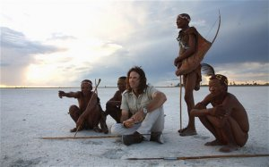 Ralph Bousfield with Zu/'hoasi Bushmen from a village close to San Camp - one of two he owns near the Makgadikgadi Pans, an area once covered by Africa's largest lake.