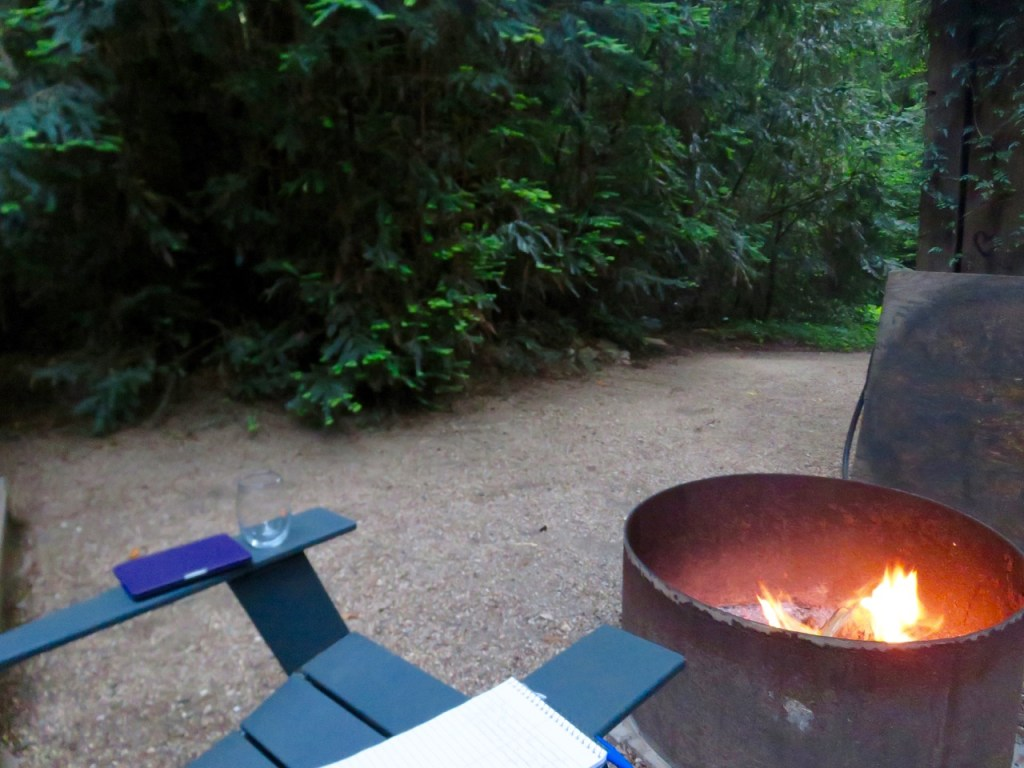 Fire pit, wine, and writing.