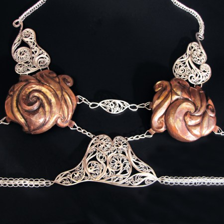 Aphrodite Goes to War, Russian filigree, Eastern repousse, and Roman and Vertebrate chain halter