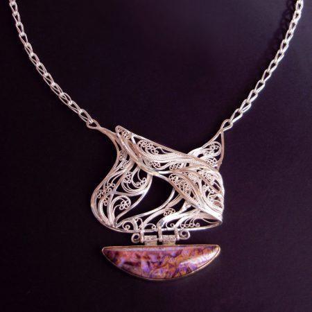 Intermingled, Russian filigree pendant on a Roman chain