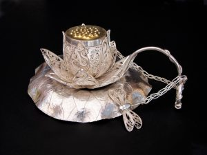Darling, lotus have some tea..., Russian filigree, Eastern repoussé, chased, pierced, and fabricated tea infuser, strainer, and stand
