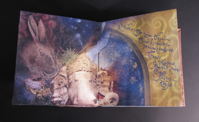 Imagination Bodies Forth, Eastern repousse copper bound artist book with hand lettering (page spread)