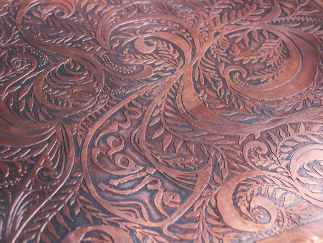 Imagination Bodies Forth, Eastern repousse copper bound artist book with hand lettering (detail of back cover)