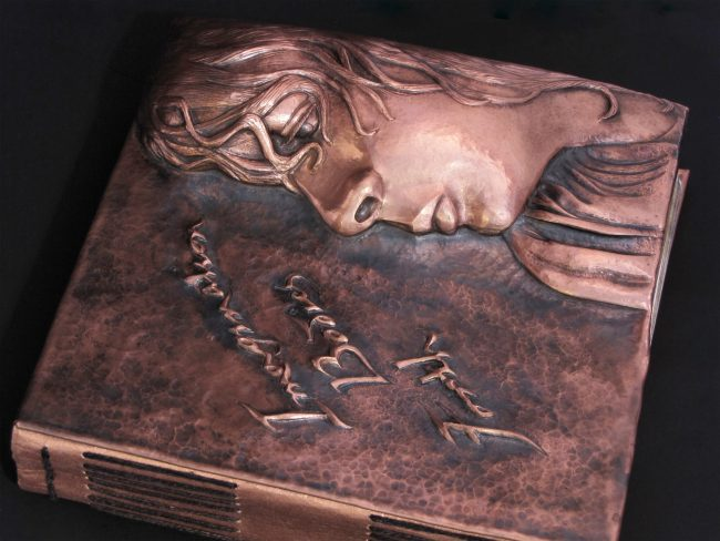 Imagination Bodies Forth, Eastern repousse copper bound artist book with hand lettering (detail of cover)