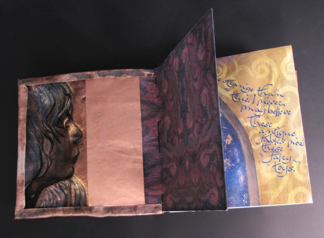 Imagination Bodies Forth, Eastern repousse copper bound artist book with hand lettering (inside front cover)