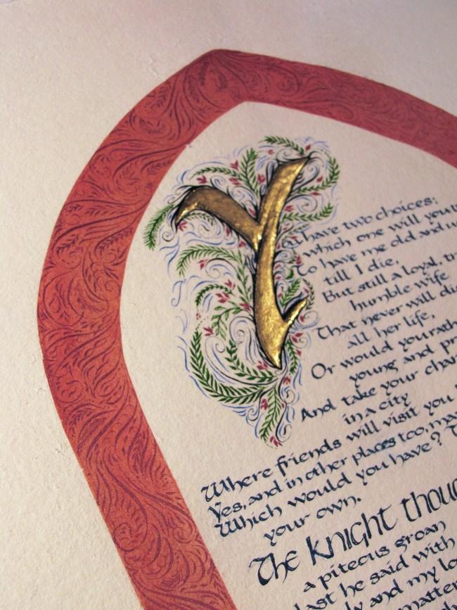 What a Woman Wants, Gilding, illumination, flourishing, and Carolingian calligraphy on handmade paper