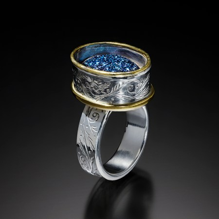 Arc IV, chased, drusy ring; photo by Pat Vasquez-Cunningham