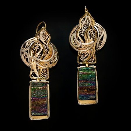 Casablanca IX, Gold and Silver, Russian filigree earrings with natural rainbow obsidian; photo by Pat Vasquez-Cunningham