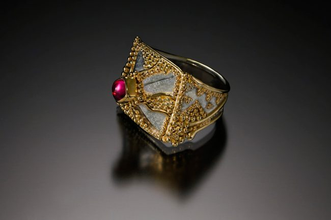 Majestic by Victoria Lansford, 18k & 22k gold granulation on sterling Eastern repousse pyramid with pink tourmaline