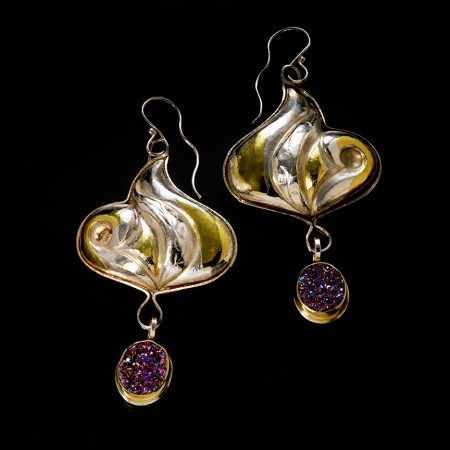 Marida Blue III - Eastern repousse and drusy earrings by Victoria Lansford; photo by Pat Vasquez-Cunningham