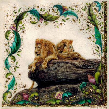 My Fierce Neighbors, miniature illumination of two male lions by Victoria Lansford