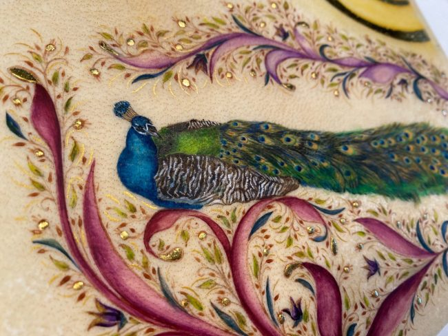 Peacock Splendor III (detail), miniature illumination by Victoria LansfordPeacock Splendor III (detail), miniature illumination by Victoria Lansford