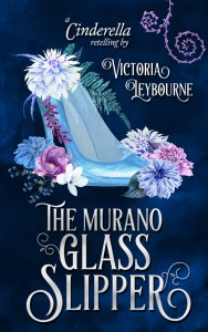 "the cover of ""the murano glass slipper: a cinderella retelling"" by victoria leybourne. A watercolour image of a glass slipper surrounded by pink and blue flowers, on a dark blue background."