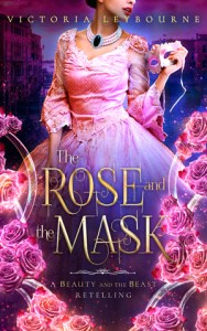"""the cover for """"the rose and the mask"""". A woman holds a mask. A view of Venice can been seen behind her. The title is surrounded by glass tubes and pink roses."""