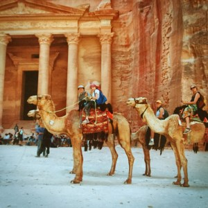 Camel riding in Petra, Jordan