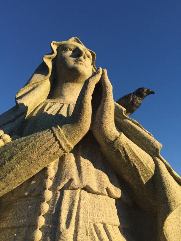 Hillcrest Cemetery--Nevermore and the Blessed Virgin Mary.
