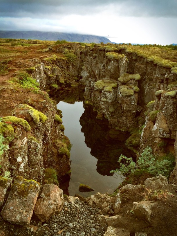 The fissure at the fault line between the North American and Eurasian Tectonic Plates in Þingvellir National Park.