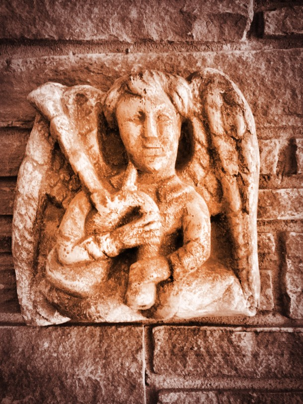 Day 20: Angel with bagpipes based on the angel at Rosslyn Chapel in Scotland.