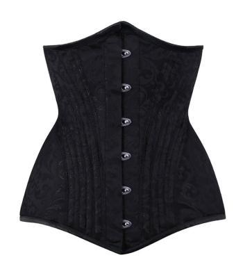 zwart brocade lang onderborst corset curvy waistraining
