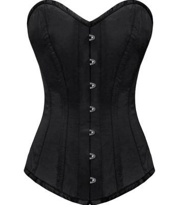 zwart satijn overborst lang corset