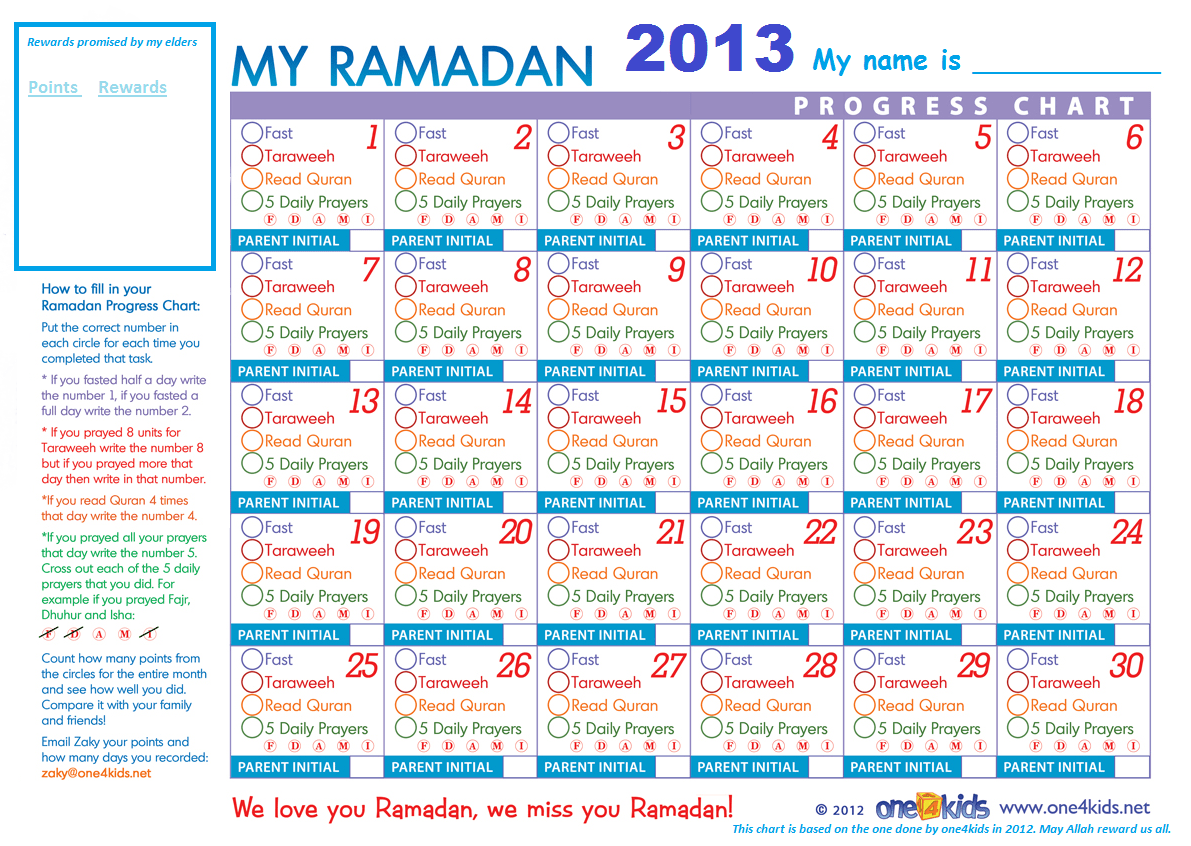 Free Ramadan Chart For The Kids