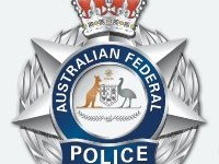 afp badge australian federal police badge stock image