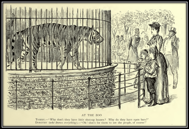 Illustration of a tiger in a cage being observed by a Victorian woman and children. Caption reads: