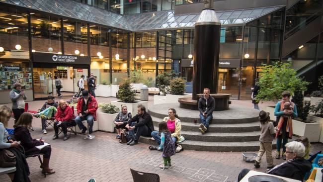 Bringing placemaking to the Greater Victoria Public Library (Central Branch) courtyard.