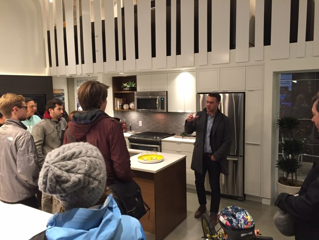 Hearing from Sam Ganong in the Village Walk sales centre.