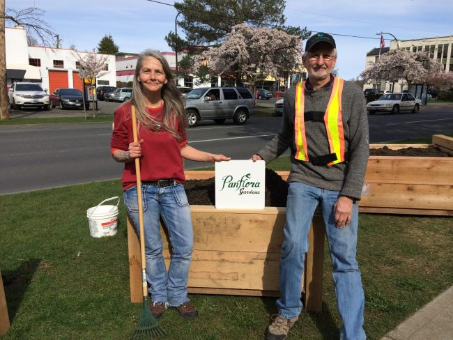 Karen Wilkinson or Our Place and Jim LaMorte of Greater Victoria Placemaking Network each put in many hours to make PanFlora Gardens happen.