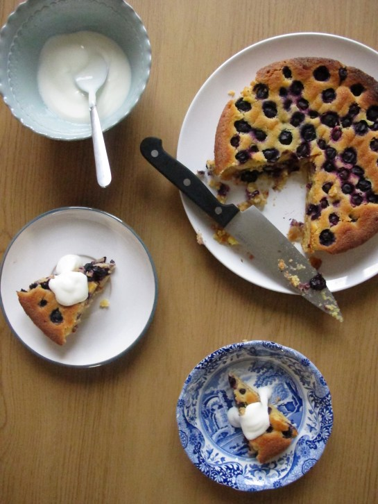 bluberry and lime polenta cake