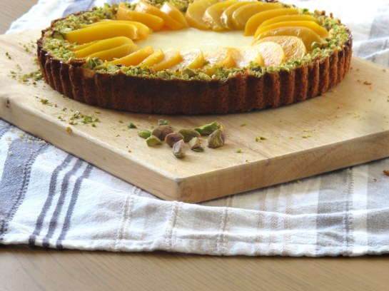 Peach Pistachio and Ricotta Cheesecake