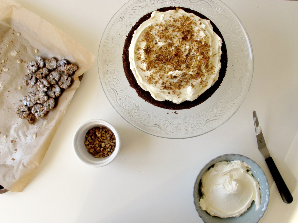 Maple and Candied Walnut Chocolate Celebration Cake// VSPP