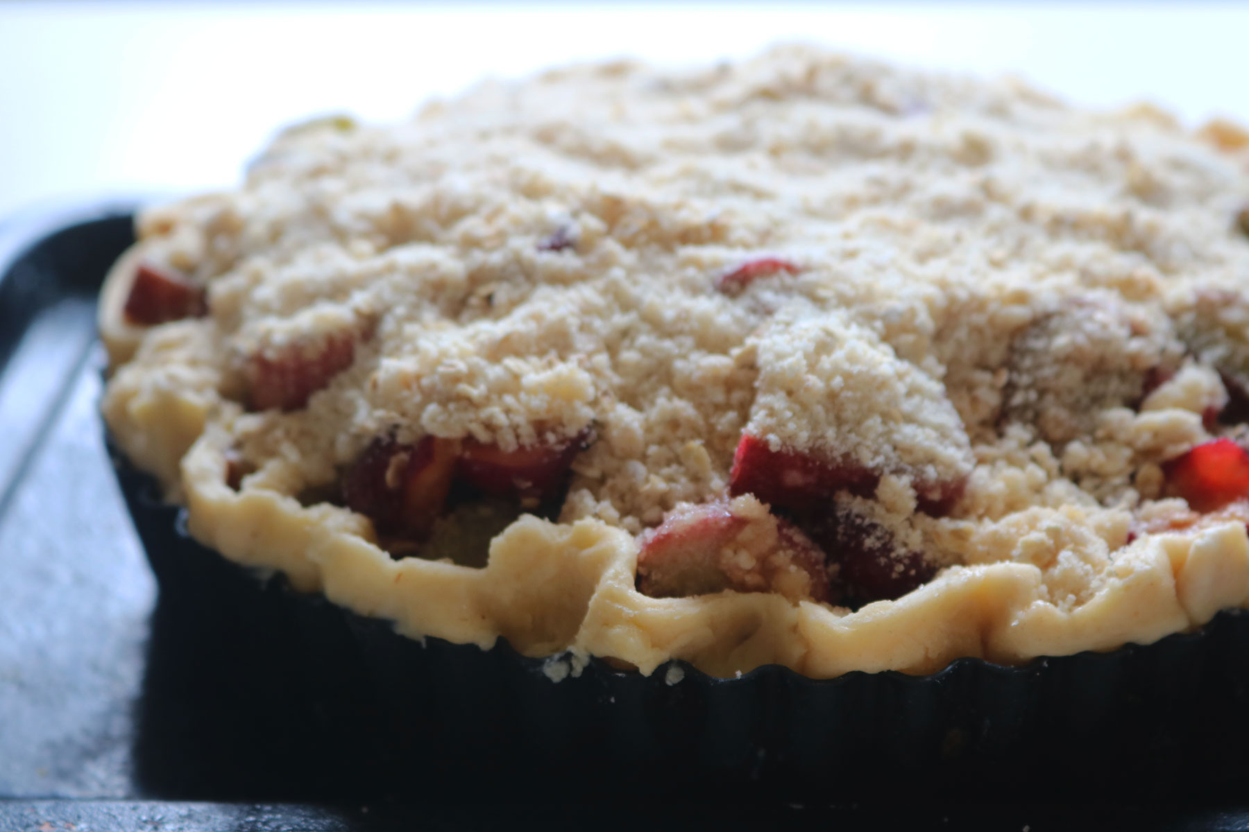 Rhubarb Cherry Ginger Crumble Pie