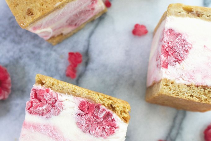 Raspberry Ripple Ice Cream Sandwiches