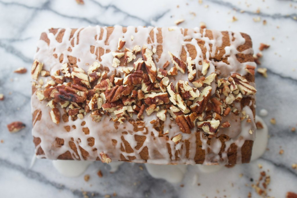 Spiced Sweet Potato Loaf with Vanilla Glaze