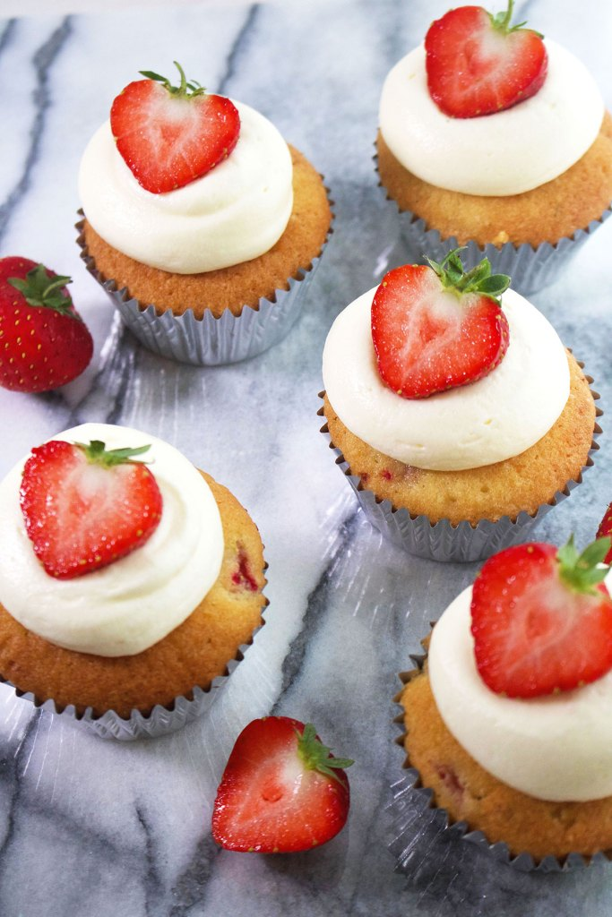 Strawberry Almond and Lime Cupcakes