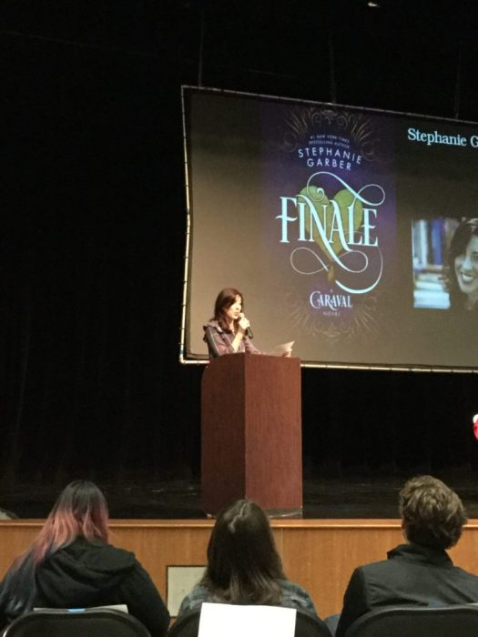 Image of author Stephanie Garber giving her keynote speech.