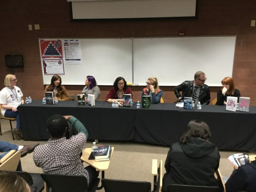 Image of authors Stephanie Garber, Jeff Sweat, Cindy Pon, Kayla Cagan, Mary Weber and Nicole Maggi discussing their publishing journey.