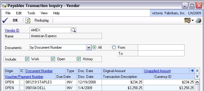 AMEX vendor