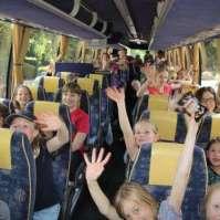 In de bus, klaar voor vertrek