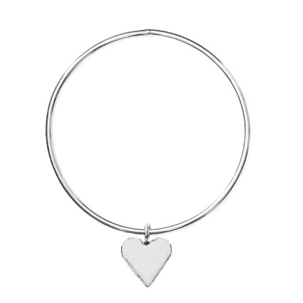 STERLING SILVER HEART CHARM BANGLE